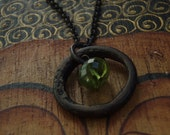 """Heart of Zen -- Antique Bronze Ring, Peridot and Brass chain 14"""" Yoga Necklace"""