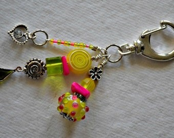 Pink, Green andl Yellow Decorative Clip w/ Lampwork Bead