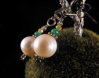 Pearl Artisan Earrings Cultured Pearls Emeralds Diamonds Sterling Posts
