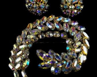 Sherman Brooch Earrings Set Designer Signed Rhinestone Jewelry Vintage Spectacular