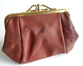 Leather Change Purse, c. 1960s, Vintage Never Used, Large Brass Kiss Lock, Two Sided, Total Retro, All Vintage Lady