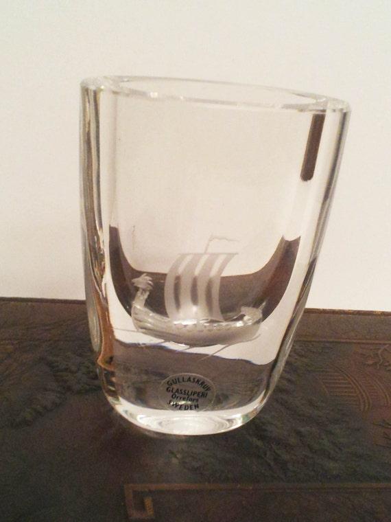 Vintage Signed Gullaskruv Orrefors Glassliperi Sweden Bud Vase