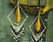 Vintage Brass and Vermeil GF Egyptian Onyx & Dalmatian Jasper Chevron Earrings