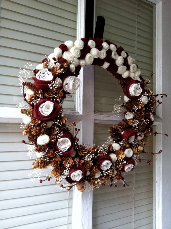 SALE: Burgundy and Cream Valentine's Day Yarn Wreath with Lace, Felt Flowers, Mini Scented Pine Cones, Berries, and Baby's Breath