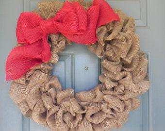 Burlap Wreath With Large Burlap Bow - X-Large 25 inch - Tan Burlap Wreath