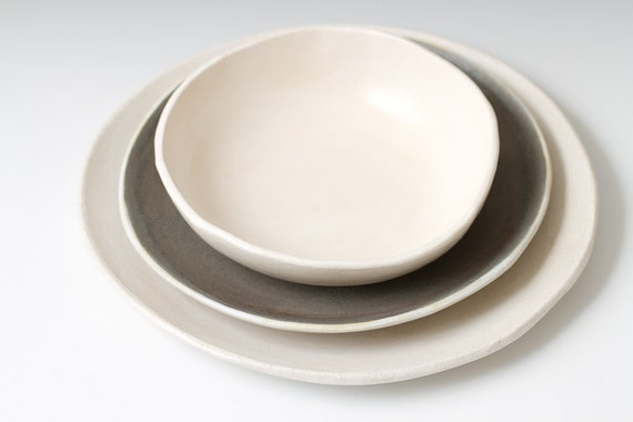 Sale White Matte And Grey Stoneware Place Table Setting
