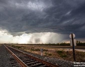 Severe Thunderstorm Above Railroad Track near Del Rio, Texas