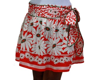 Spring Fashion Skirt / Flower Mini Skirt in Coral and White with Sash Belt / Ready to Ship
