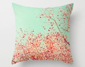 Pillow Cover, Coral Pillow, Turquoise Pillow, aqua pillow, mint pillow, pink pillows, fall pillow, girl nursery art, nursery decor