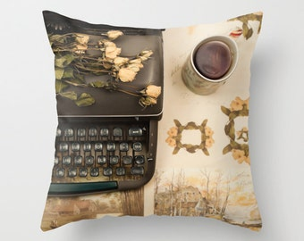 Pillow cover, black pillow, brown pillow, rustic decor, french decor, french pillow, vintage pillow, couch pillow,pillows