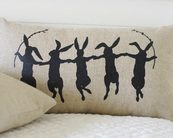 Dancing Bunnies Pillow Cover, Black or White on Natural Linen, 12x20