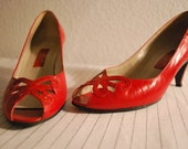 Vintage Palizzio Butterfly Peep Toe Red Pumps Valentine's Day