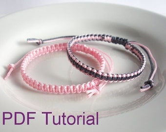 PDF Tutorial Square Knot Macrame Bracelet Pattern, Instant Download Macrame Bracelet Tutorial, DIY Friendship Slider Bracelet