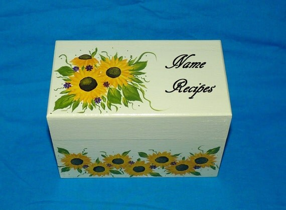 Hand Painted Recipe Box Decorative Wooden Recipe Card Box Sunflowers Personalized Wood