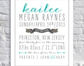 Sweet Typography Birth Announcement Print - Boy or Girl