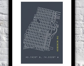 "13"" x 19"" Hand-Drawn Hoboken Grid (Map) with Coordinates"