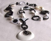 Statement Necklace, Black & White Necklace,  Upcycled, Repurposed,  Abstract, Modern, Long , Mod, OOAK