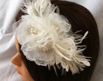 Ivory Roses Bridal Hair Clip