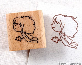 50% OFF SALE fly with bird Rubber Stamp