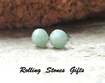 5.44mm Mint Alabaster Swarovski Round Rhinestone stud Earrings-Mint Alabaster Crystal Studs-Mint Green Small Crystal Studs