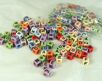 CUBE - Alphabet Beads Color Beads 6x6mm Acrylic Square Letter Beads