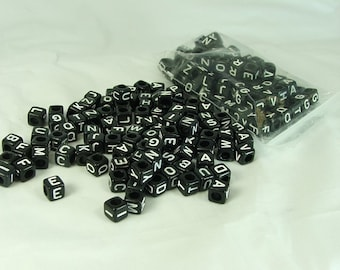 Alphabet Cube Beads Black Square Bead 200 pieces 6mm by 6mm Side Drill Craft Supply letter beads