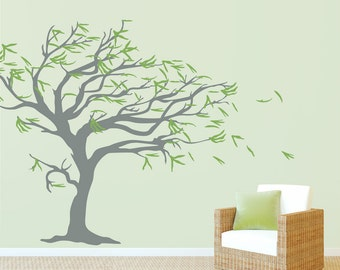 "Tree Blowing in the Wind Wall Decal 99"" x 84"" - Tree Wall Sticker Decal, Windy Tree Decal, Nature Wall Decal, Nursery Tree Wall Decal"
