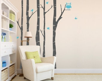 8 foot Birch Tree With Own and Birds Wall Decal - Birch Forest Wall Decal, Woodland Nursery Theme, Nature Wall Decal, Nursery Tree Sticker