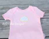ON SALE- Little Cupcake- Pink and White, 3-6M, Ruffle Bum Onesie with Pink Crystal Sprinkles