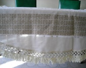 neutral beige round linen tablecloth with with Nordic pattern and fringe, 60''