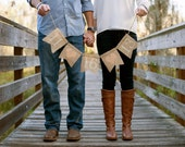 SAVE THE DATE burlap banner - save the dates - Wedding Banner - engagement pictures - Peach hearts - Photography prop