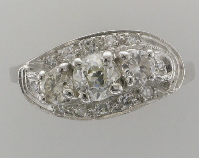 "Ladies 14 Karat White Gold Diamond Cocktail Ring with Arthritic ""Balls"" in Shank"