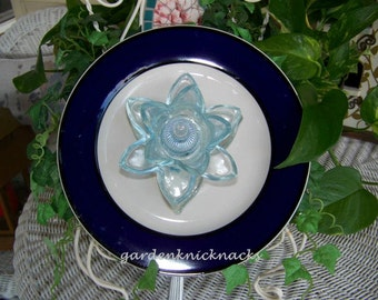 Blue Lotus Blossom Flower Plate