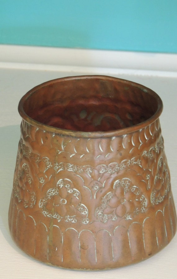 Vintage Copper Pot Rustic Home Decor By Lebrundesignsinc