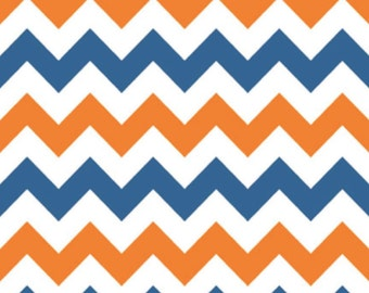Medium Chevron Orange/Blue by Riley Blake Designs Half  Yard Cut