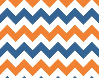 Medium Chevron Orange/Blue by Riley Blake Designs Fat Quarter Cut