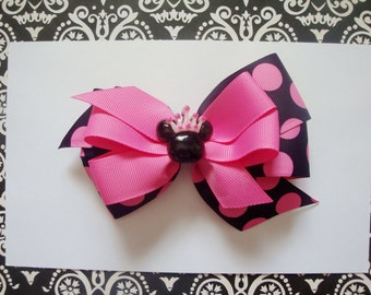Princess mouse hairbow, hot pink and black hairbow