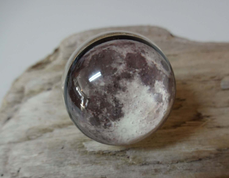 Full Moon Ring Handmade Snow Globe Ring Moon Ring