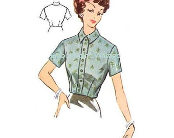 Plus Size (or any size) Vintage 1950s Blouse Pattern - PDF - Pattern No 106 Anna