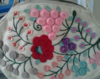 Early 1900's vintage felt handbag
