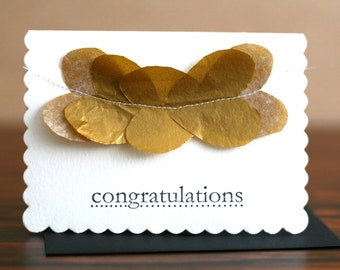 Handmade Congratulations Card (Blank Card) Wispy Gold Hearts Flutter Design