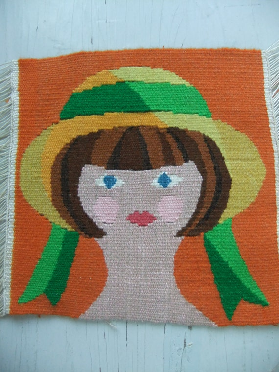 Vintage Swedish hand woven tapestry in Flemish weave Girl with hat