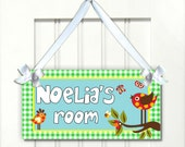 retro birds girls door sign - babies decor signs nursery bedroom decor plaque - customizable - PL124 girls christmas - kasefazem