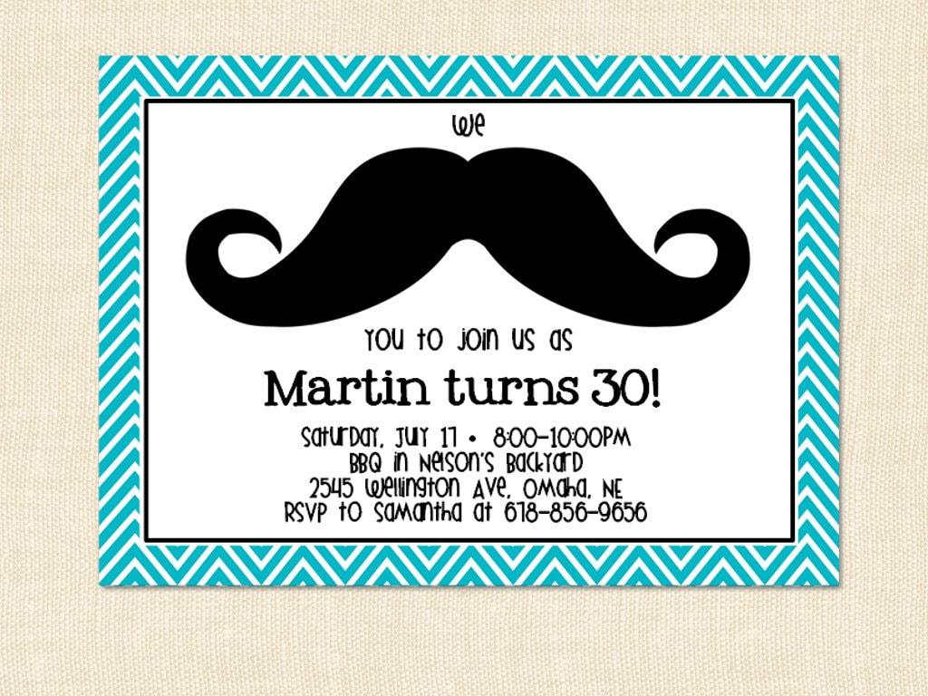 40th Birthday Ideas: Mustache Birthday Invitation Template Free