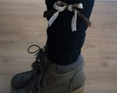 Black boot socks with bow - Cable knit boot socks