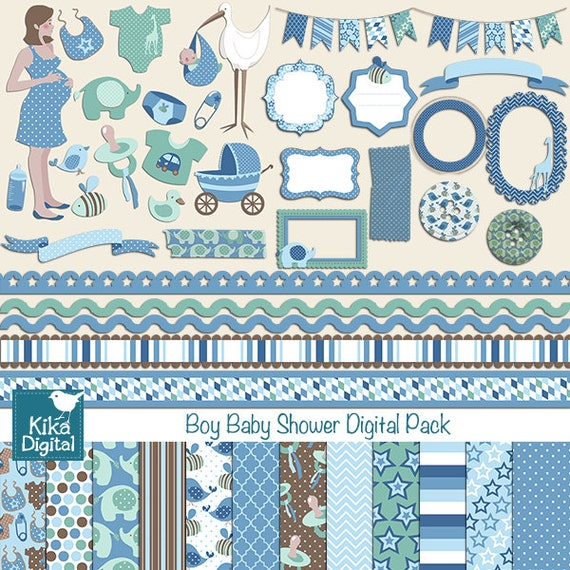 Items Similar To Boy Baby Shower Digital Clipart And Paper Combo
