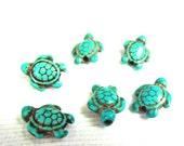 Blue Howlite Turquoise Turtle Beads Tortoise 18x15mm 5pcs