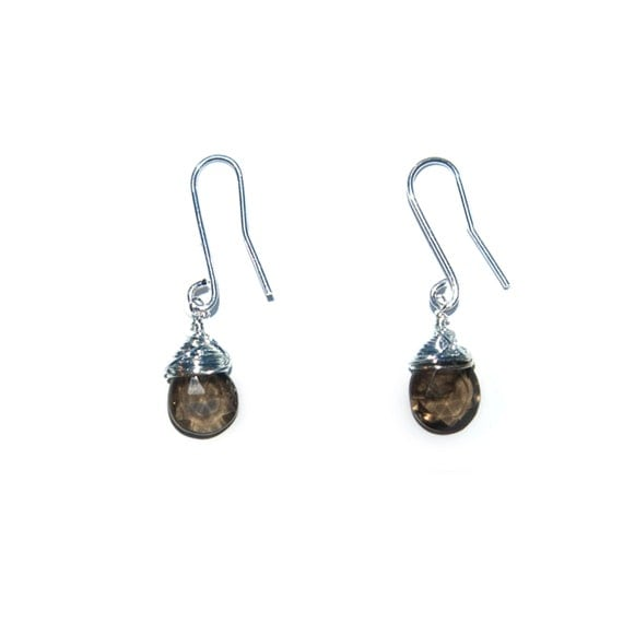 ESDRSQ01S: Smoky Quartz Drop of the Rainbow Short Wire Earrings in Sterling Silver