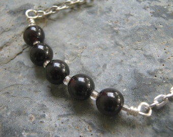 Garnet Bar Necklace, Minimalist Necklace, Hand Linked Gemstone, Root Chakra Necklace, 18 inches, READY To SHIP