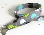 Fabric ID Badge Lanyard Autumn Grey Aqua Lime Brown White Dots Teacher Key Holder for  Nurse Lanyard